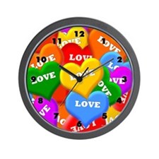 Plenty of Colorful Hearts Wall Clock
