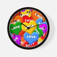 Plenty of Colorful Hearts Wall Clock