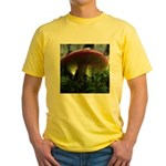 Red Mushroom in Forest Yellow T-Shirt