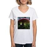 Red Mushroom in Forest Women's V-Neck T-Shirt