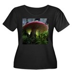 Red Mushroom in Forest Women's Plus Size Scoop Nec