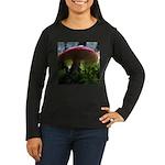 Red Mushroom in Forest Women's Long Sleeve Dark T-