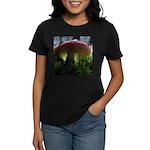 Red Mushroom in Forest Women's Dark T-Shirt