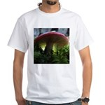 Red Mushroom in Forest White T-Shirt