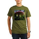 Red Mushroom in Forest Organic Men's T-Shirt (dark