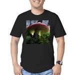 Red Mushroom in Forest Men's Fitted T-Shirt (dark)