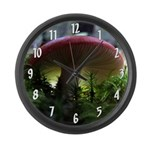 Red Mushroom in Forest Large Wall Clock