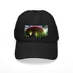 Red Mushroom in Forest Black Cap