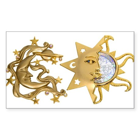 Sun Moon Sparkle Rectangle Sticker
