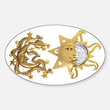 Sun Moon Sparkle Oval Decal