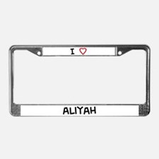 I Love aliyah License Plate Frame