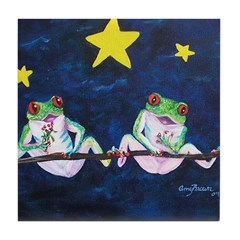 Romantic Frogs under the Star Tile Coaster