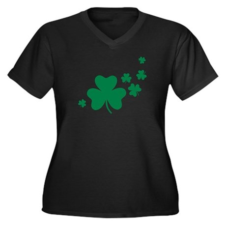Shamrocks Women's Plus Size V-Neck Dark T-Shirt