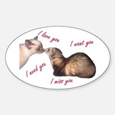 Cat and Ferret Love Oval Decal