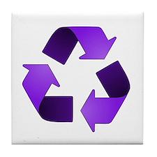Purple Recycling Symbol Tile Coaster