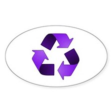 Purple Recycling Symbol Oval Decal