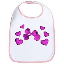 Pink Dumbell Hearts Bib