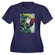 Amazon, Green Parrot Women's Plus Size V-Neck Dark