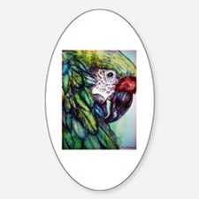 Amazon, Green Parrot Oval Decal