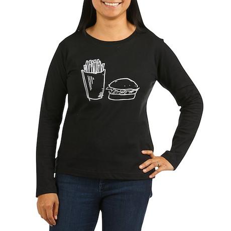 Burger and Fries Women's Long Sleeve Dark T-Shirt