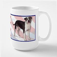 patriotic american pit bull t Large Mug