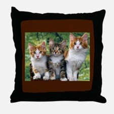 3 Cats Throw Pillow