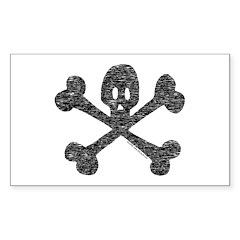 Skull and Crossbones Rectangle Sticker 50 pk)