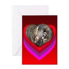 Ferrets Curled in Red Heart Greeting Card