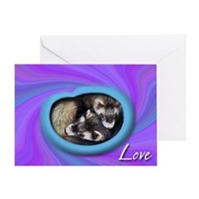 Ferrets Swirled in Love Greeting Card