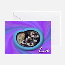Ferrets Swirled in Love Greeting Card
