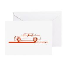 2005-10 Charger Orange Car Greeting Cards (Pk of 2