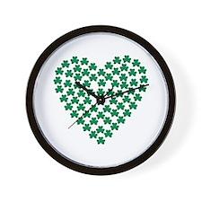 Shamrocks heart Wall Clock