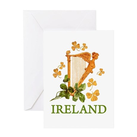 Ireland - Golden Irish Harp Greeting Card