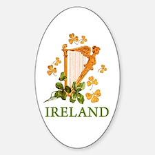 Ireland - Golden Irish Harp Sticker (Oval)