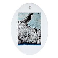 Wildlife, Rhino, Ornament (Oval)