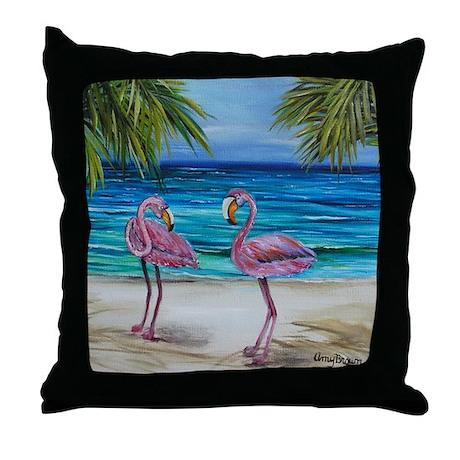 Loving Pink Flamingos Throw Pillow