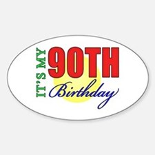 90th Birthday Party Oval Decal