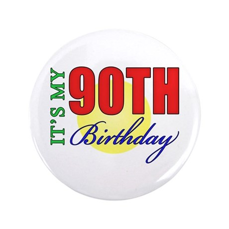"""90th Birthday Party 3.5"""" Button (100 pack)"""