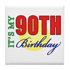 90th Birthday Party Tile Coaster