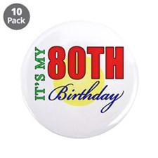 "80th Birthday Party 3.5"" Button (10 pack)"