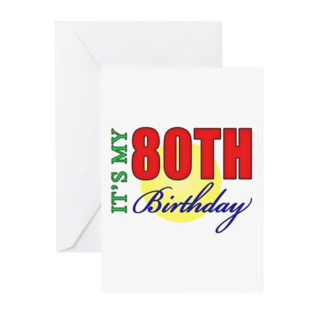 80th Birthday Party Greeting Cards (Pk of 10)