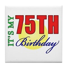 75th Birthday Party Tile Coaster