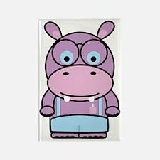 Purple Hippo Nerd Rectangle Magnet