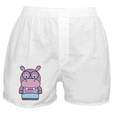 Purple Hippo Nerd Boxer Shorts