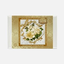 Floral Gold 50th Wedding Anniversary Magnets