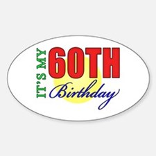 60th Birthday Party Oval Decal