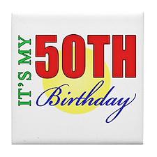 50th Birthday Party Tile Coaster