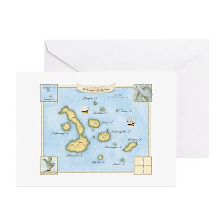 Galapagos Archipelago Map Greeting Cards (Pk of 10
