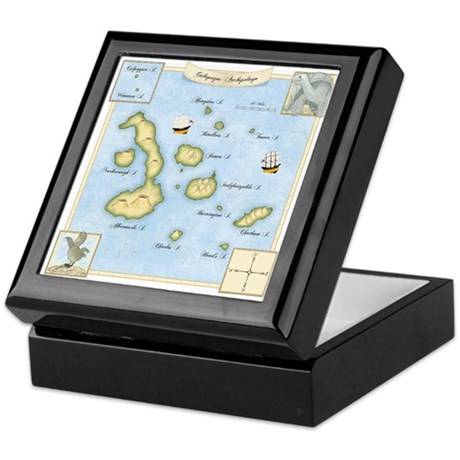 Galapagos Archipelago Map Keepsake Box