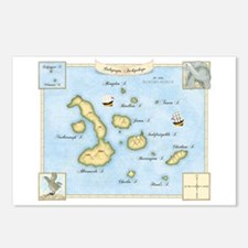 Galapagos Archipelago Map Postcards (Package of 8)